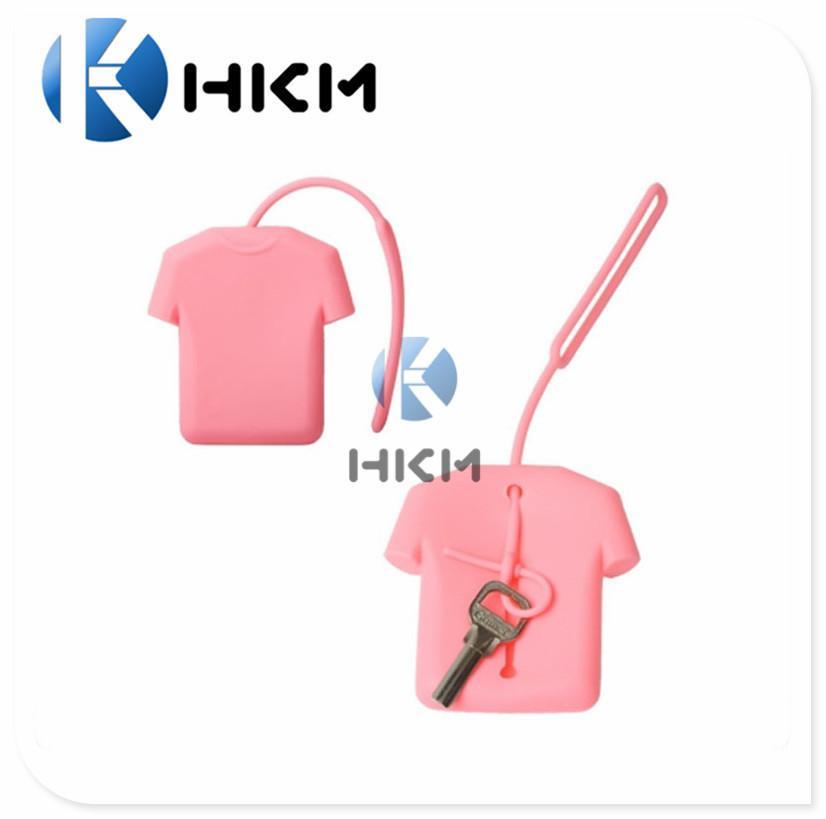 创意硅胶礼品衣服钥匙包 糖果色T恤钥匙包 优质环保吊绳钥匙包
