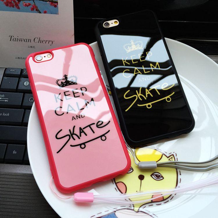 情侣手机壳 时尚皇冠黑粉底镜面手机全包 彩绘时尚手机配件