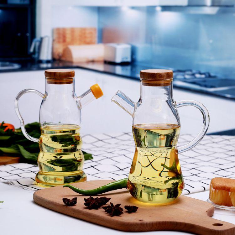 新款简约现代带手把玻璃油壶 厨房用具防漏油玻璃瓶 木质盖油瓶