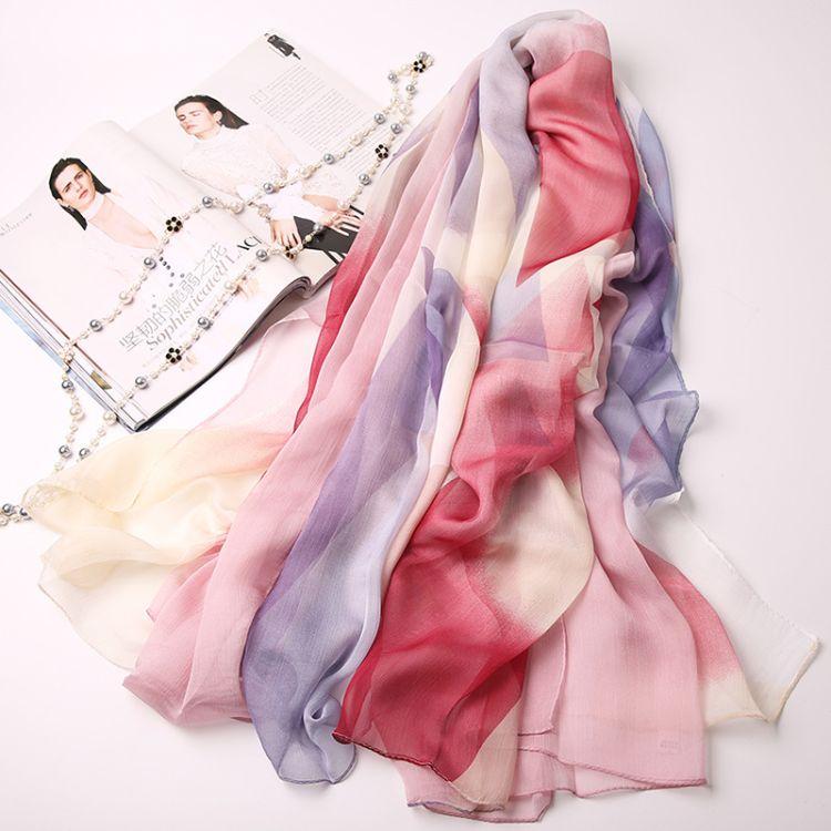 直批仿丝丝巾 顺纡绉印花薄款雪纺围巾轻盈优雅气质披肩一件代发
