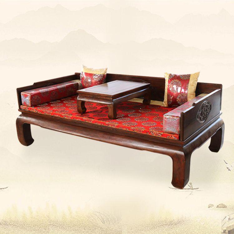 厂家加工定制中式现代榆木罗汉床 仿古禅意床榻实木雕花罗汉床
