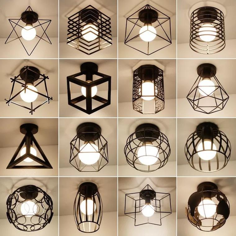 铁艺吸顶灯 工业风灯具创意装饰卧室灯吸顶灯 复古铁艺led小吊灯