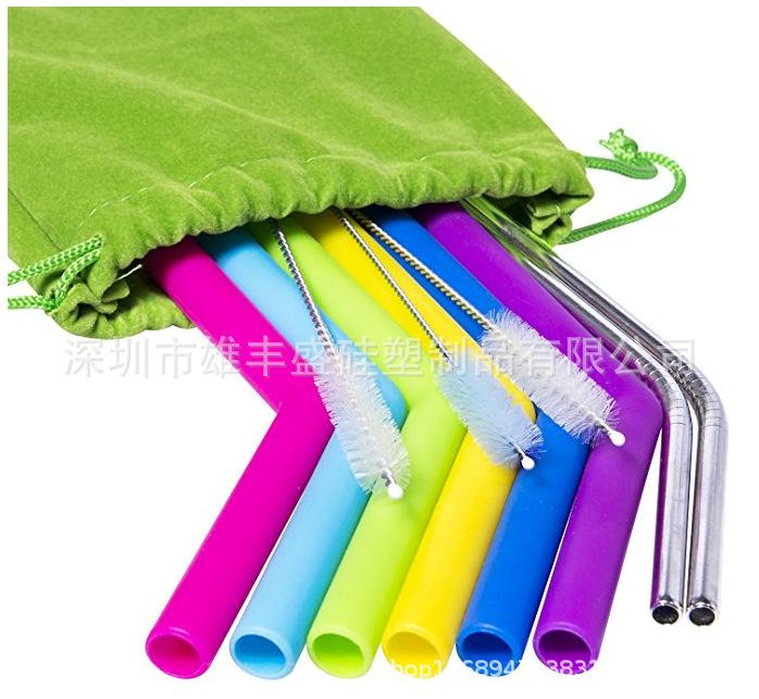 厂家现货硅胶吸管套装硅胶吸管布袋加加硅胶吸管不锈钢吸管硅吸管