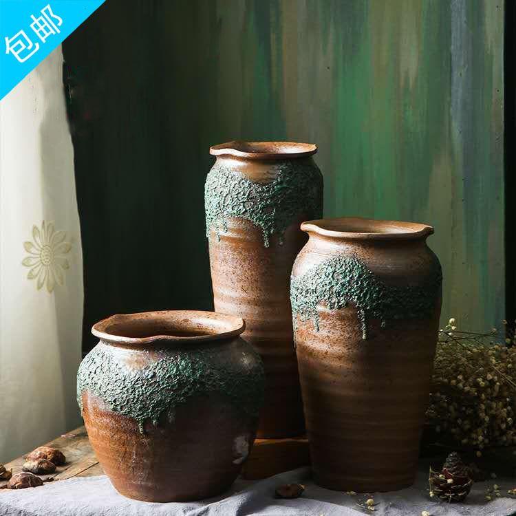 软装陶瓷花瓶手工做旧陶瓷花瓶 装饰酒店陶瓷摆件 复古粗陶工艺品