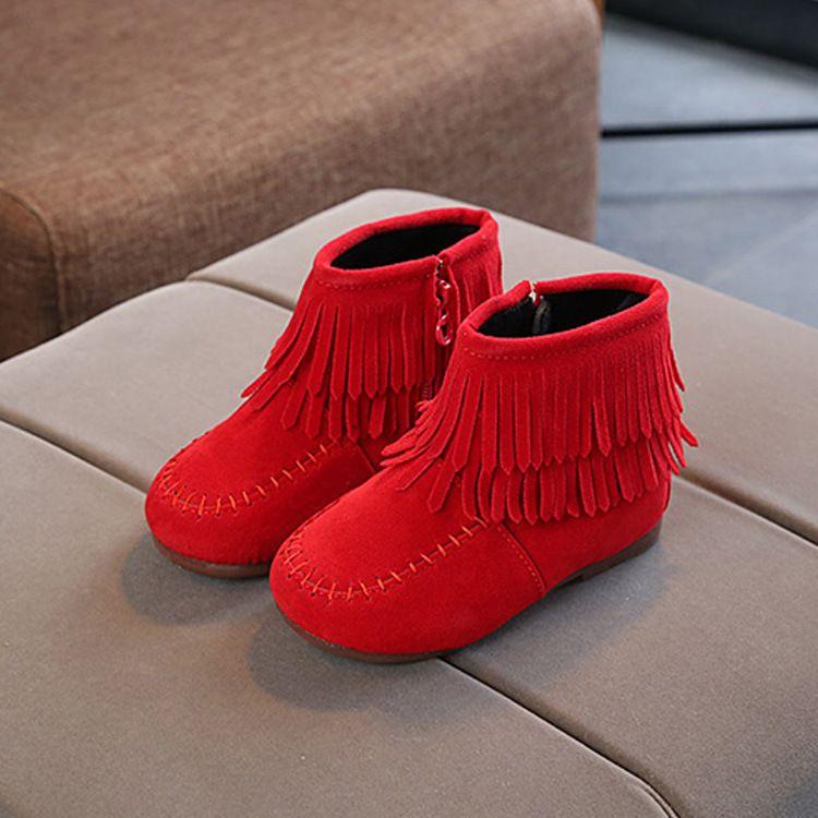 2018冬款童鞋韩版女童公主鞋流苏加棉短靴中小童保暖裸靴外贸批发