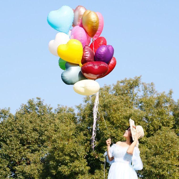婚庆婚房布置派对装饰铝膜气球定制 18寸爱心飘空氦气球 婚纱摄影