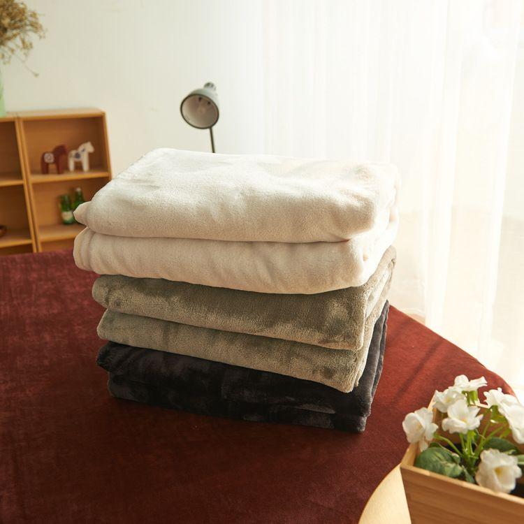 素色法莱绒毛毯加厚单双人裸睡毯子 450克加厚法莱绒纯色毛毯