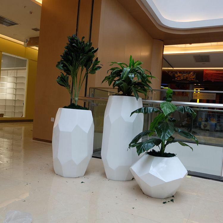 【龙翔工厂】玻璃钢园艺花盆组合广场绿化摆件创意菱形多边形花盆