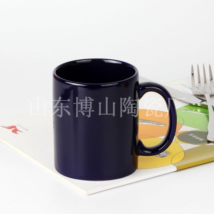 淄博陶瓷厂家生产色釉杯 宝石蓝色陶瓷杯定制logo 黄色马克杯印字