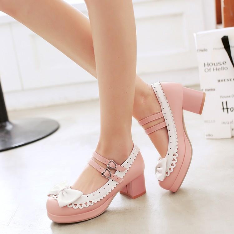 2017春季新款韩版新款中跟鞋简洁百搭侧扣带甜美粗跟单鞋大码
