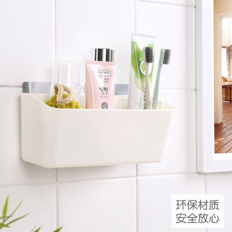 创意款塑料浴室置物架  无痕卫生间收纳架   吸壁式免打孔置物架