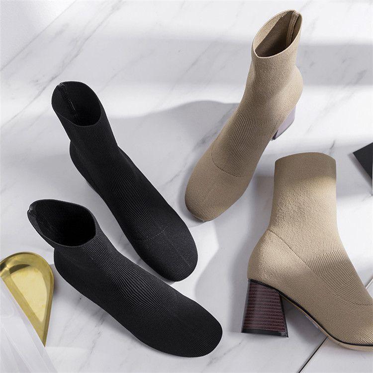 秋冬韩版高跟马丁靴针织毛线靴中筒弹力靴瘦腿套筒粗跟女靴子3340
