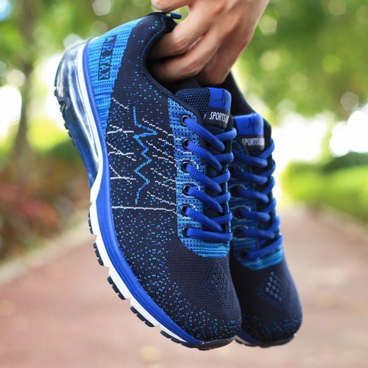 四季新款2018飞线气垫鞋学生鞋气垫跑步鞋针织网面气垫休闲鞋