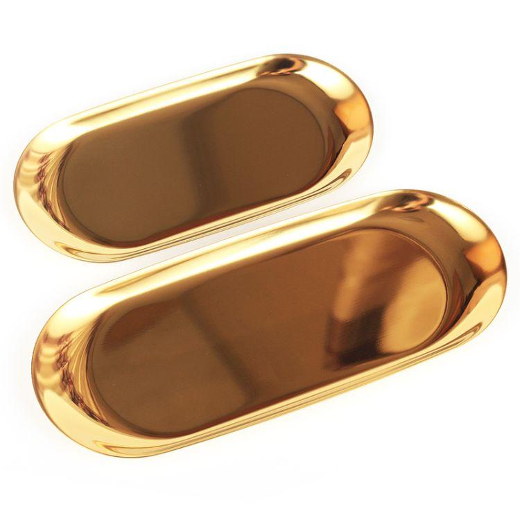 北欧风格 金色收纳盘 金属椭圆盘子首饰置物小托盘不锈钢点心盘