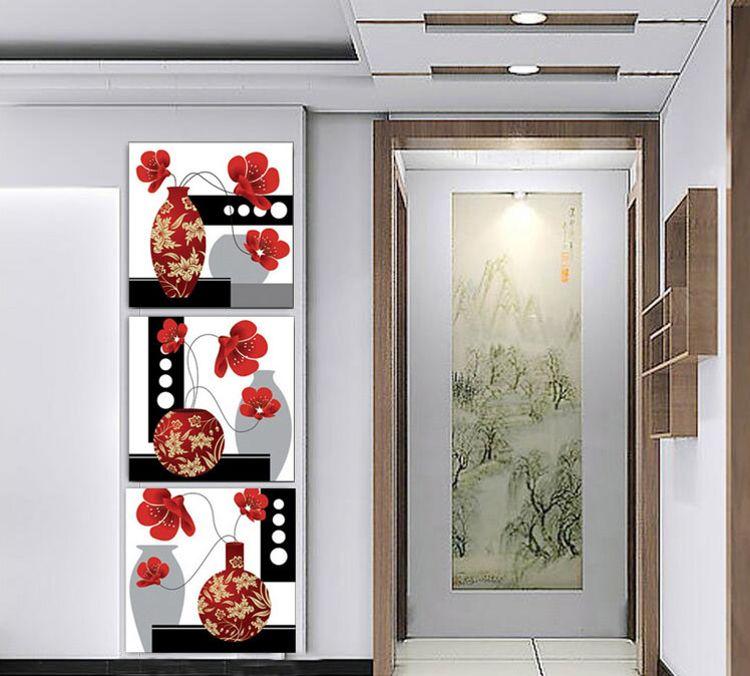 客厅玄关装饰画 现代简约三联画无框画竖联走廊过道挂画墙画壁画