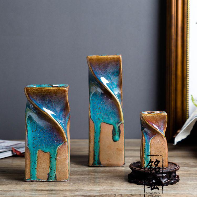 陶瓷3三件套摆件 手工上釉流动的釉色 高温窑变艺术花瓶 小号花器