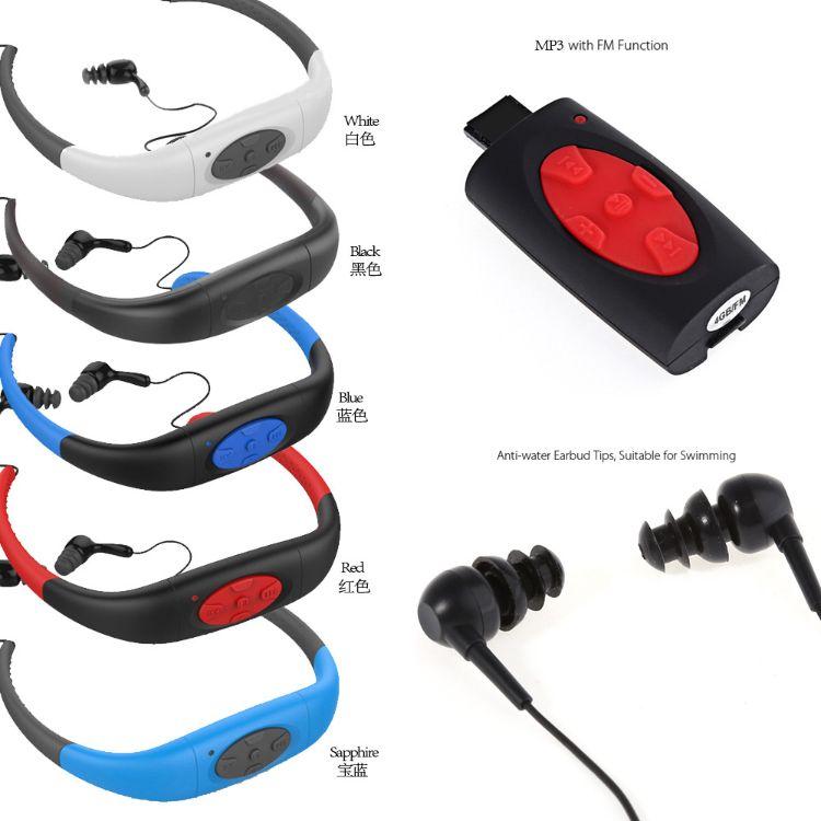 特价挂脖防水运动MP3 游泳mp3 防水mp3 带收音听歌后挂式防水耳机