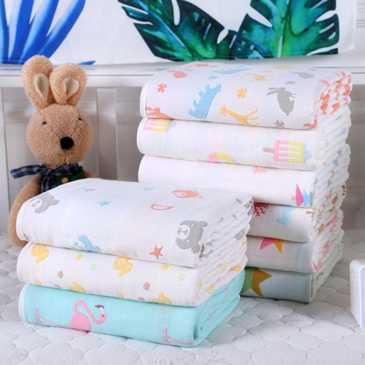 新款六层纱布童被儿童浴巾纯棉盖毯幼儿园卡通抱被毛巾被厂家直销