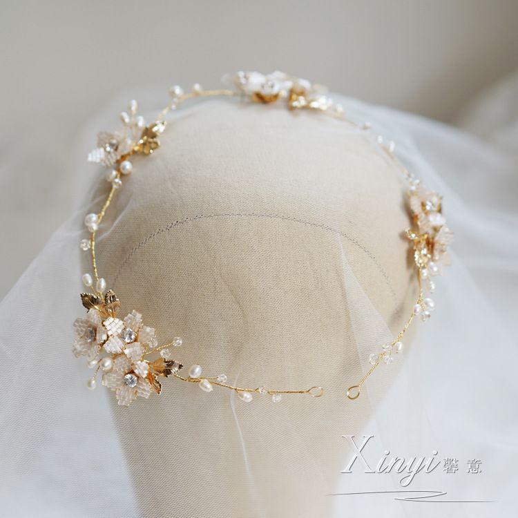 馨意新娘手工淡水珍珠森系藤蔓發帶影樓拍攝跟妝飾品
