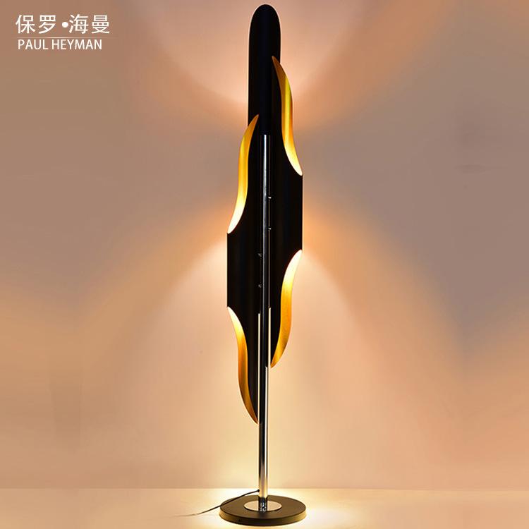 创意个性竹子三节落地灯后现代简约落地灯设计师酒店斜口铝材竹筒