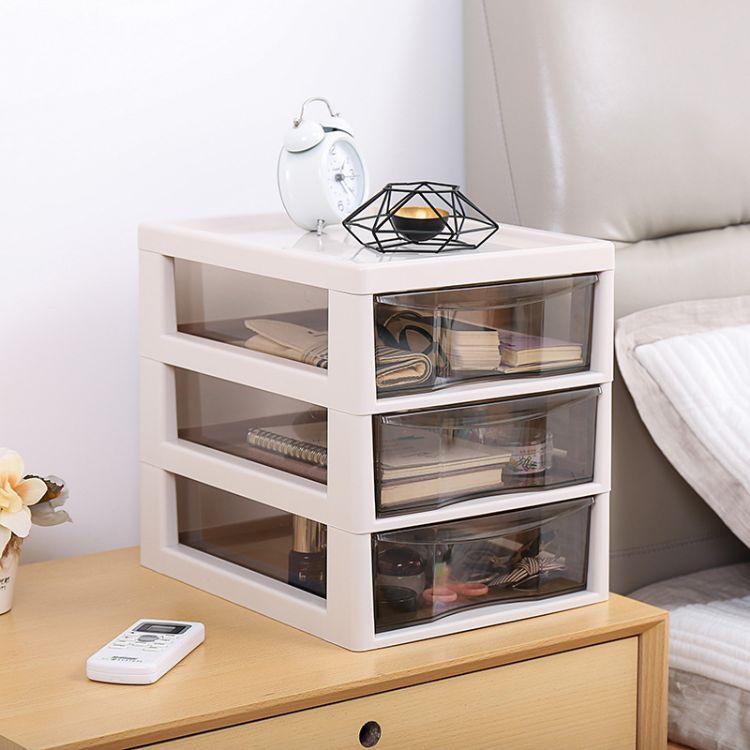 抽屉式透明抽屉置物架化妆品收纳盒整理盒储物盒护肤品收纳整理柜