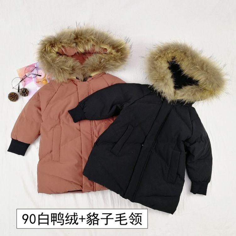 童装羽绒服男童宝宝冬装外套90白鸭绒连帽大毛领中长款小童羽绒衣