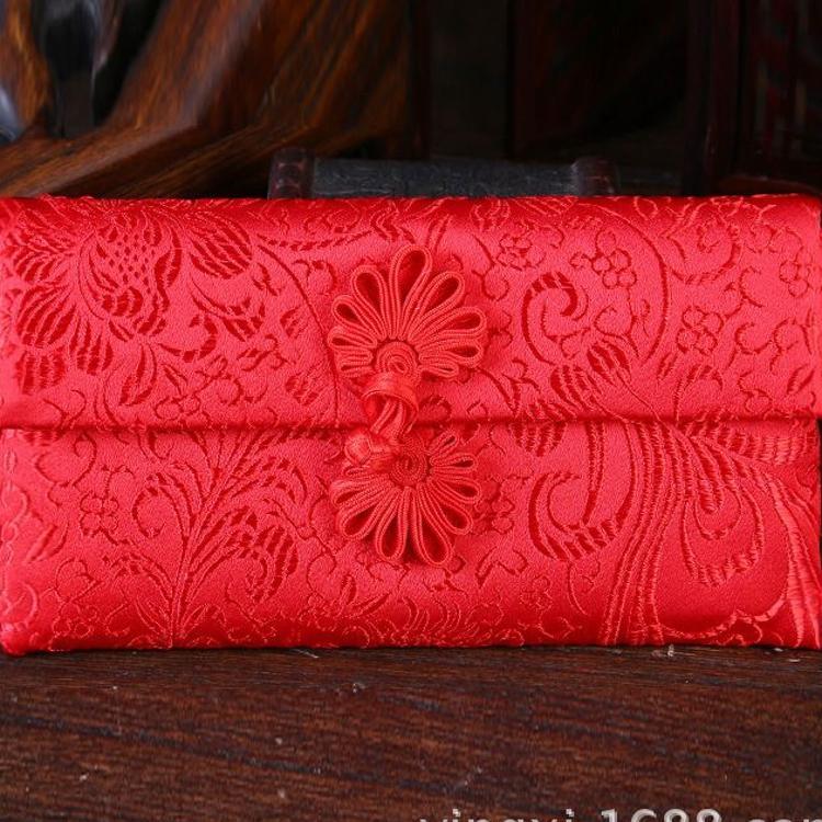 利是封优质布艺结婚个性创意红包万元锦缎红包袋横版排扣红批发