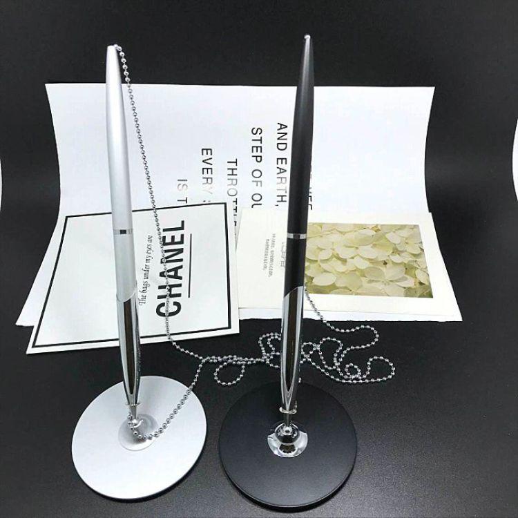 创意金属签字桌面台笔 定制LOGO链条银行酒店商务办公台笔