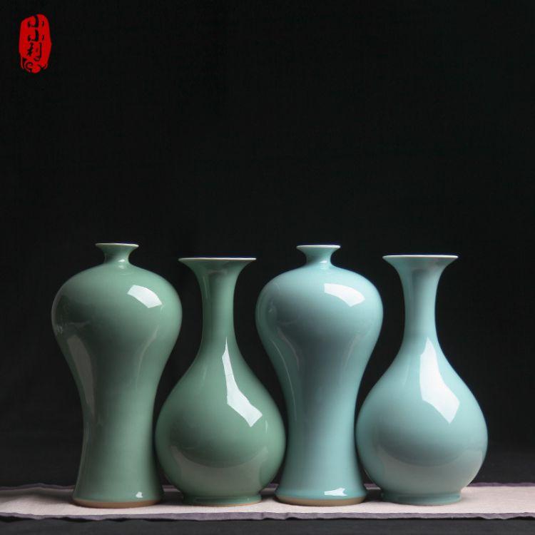 包邮龙泉哥窑青瓷 陶瓷花瓶玉壶春花瓶家居摆件复古花瓶创意花瓶