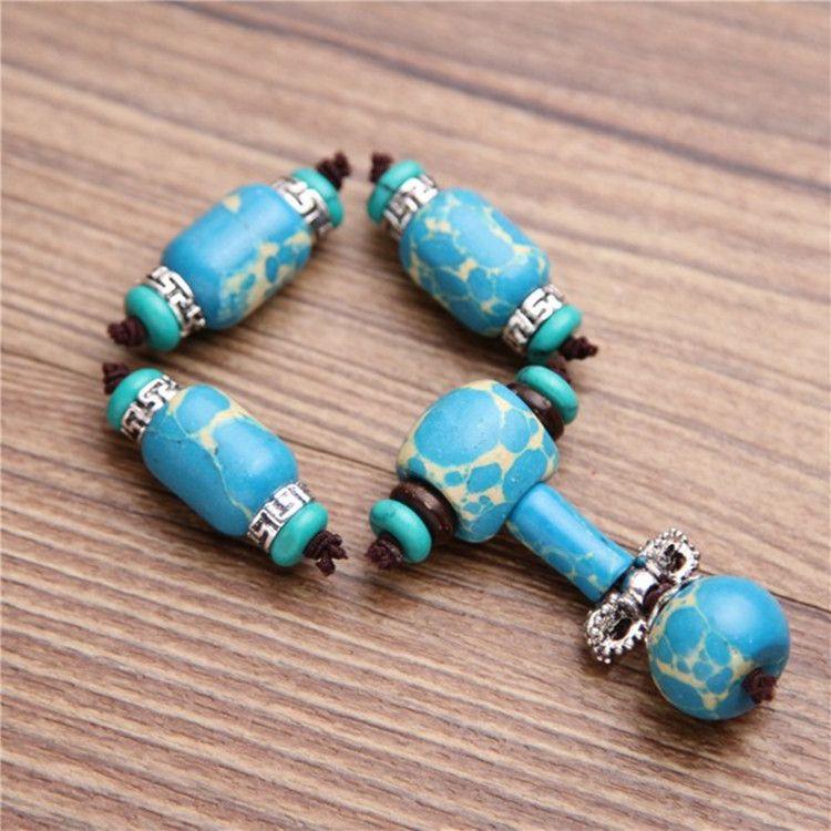 天然美国帝王石松桶珠米珠 绿松石diy佛珠 星月菩提隔珠饰品配件