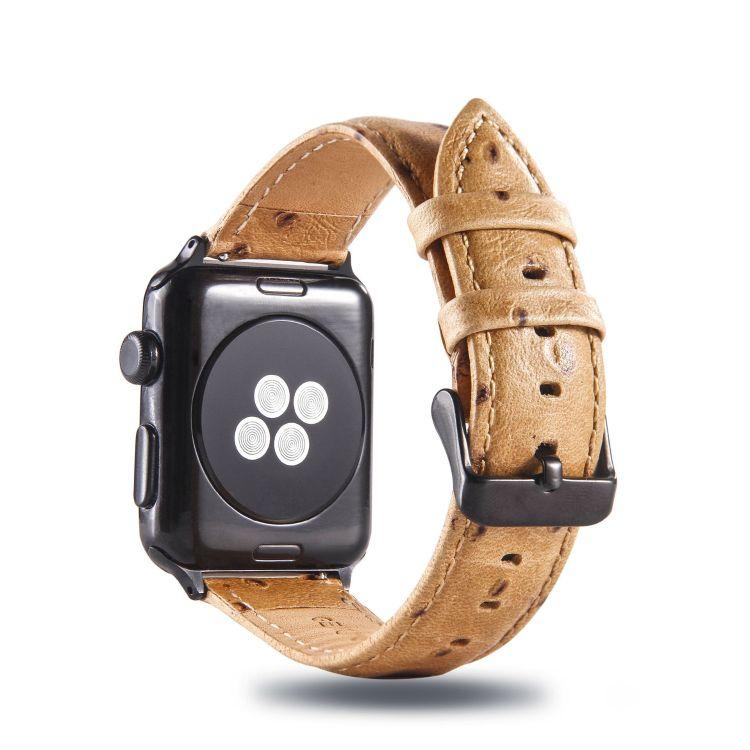 外貿商務新款蘋果手表帶適用于apple iwatch真皮鴕鳥紋表帶4321代