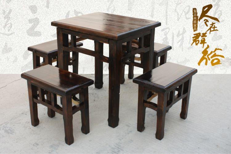 厂家大量批发 仿古炭化实木餐厅家具 特色八仙餐桌 农家乐餐桌椅