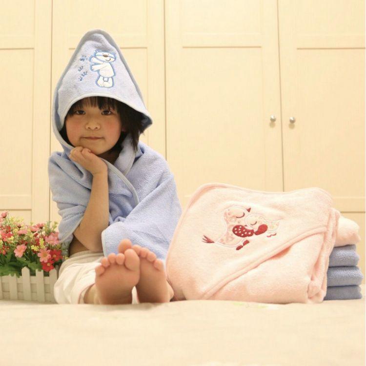 厂家直销外贸婴儿浴巾超细纤维新生儿包被秋冬婴童抱被带帽厚浴巾
