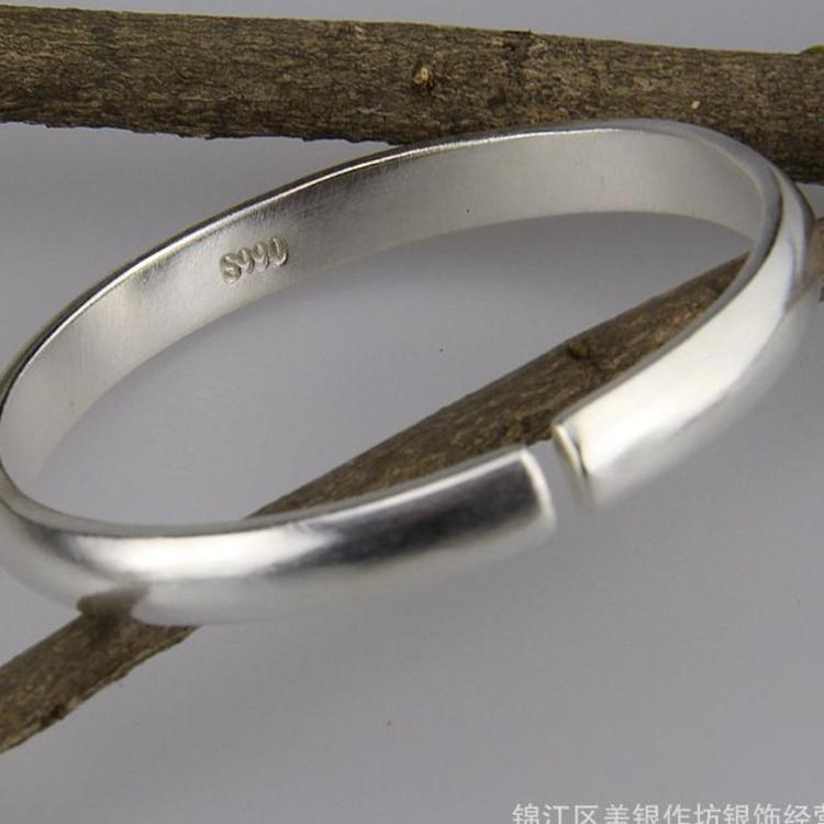 手工银饰工厂承接定制 原创光面手镯 简约手饰光面纯银手镯