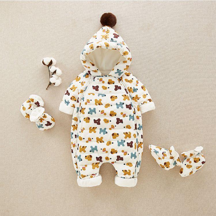 婴儿羽绒服白鸭绒连体衣加厚外出抱衣秋冬新生儿衣服冬装宝宝抱衣