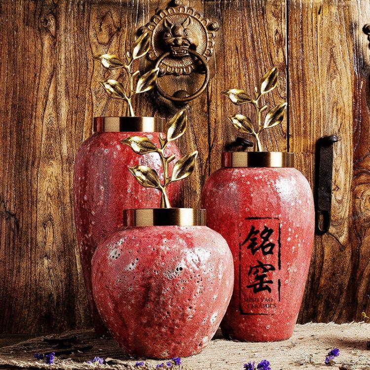 亚光泡泡釉欧式桌面大花瓶 新房装饰装修 设计师软装复古艺术摆件