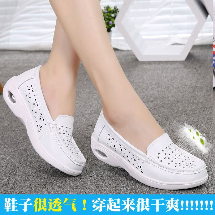 夏季新款护士鞋白色坡跟透气工作鞋防滑气垫孕妇妈妈鞋女镂空单鞋