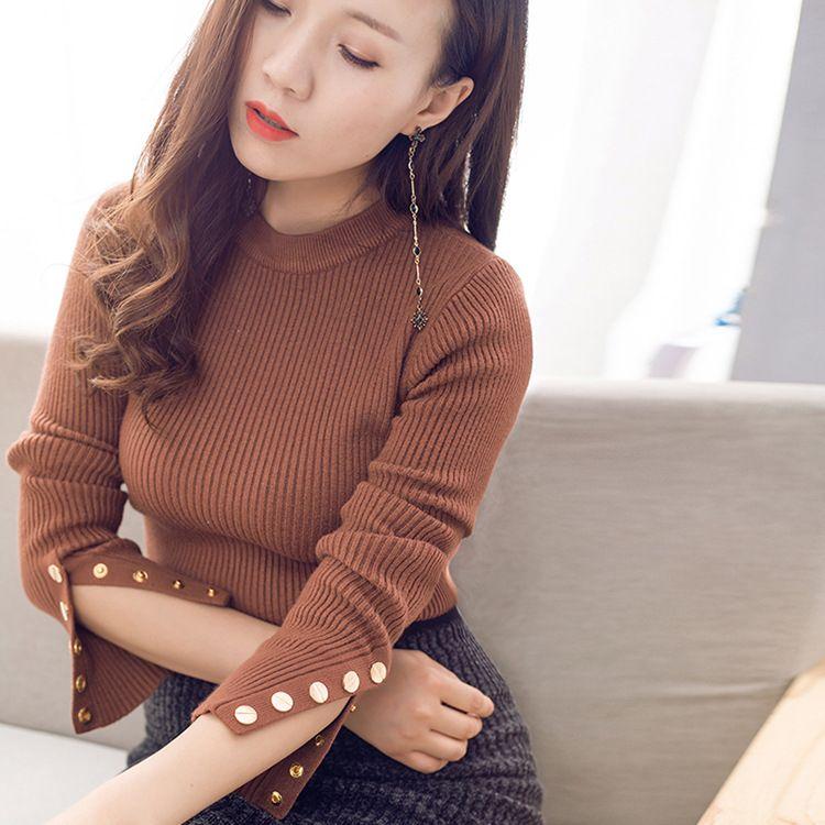 套头毛衣女秋冬韩版新款长袖女装针织衫修身显瘦时尚女士毛衣批发