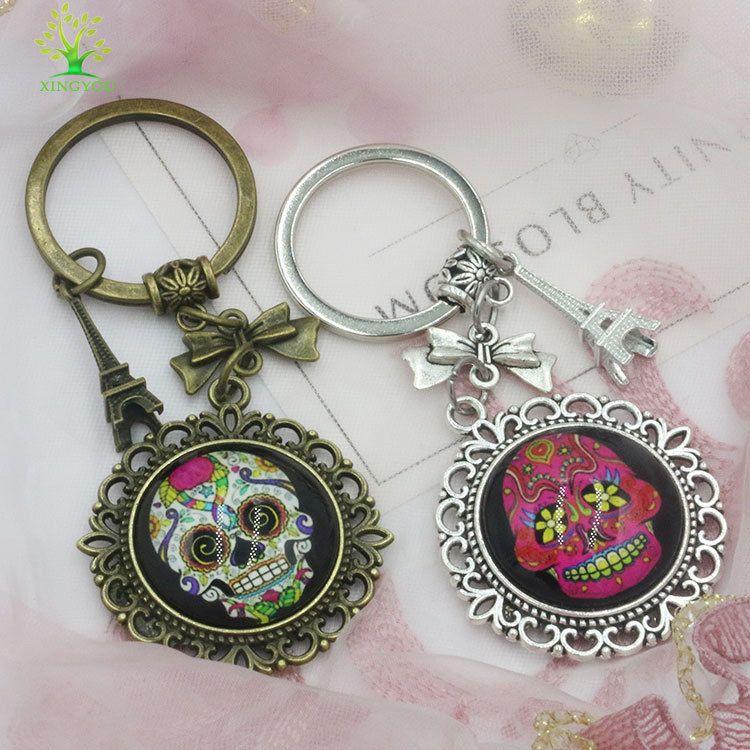 pvc滴胶钥匙套饰品配件宝石 diy创意金属钥匙圈手工配件广告礼品