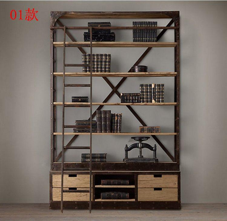 创意铁艺复古置物架 工业风特色展示架 实木搁板带梯落地收纳书架