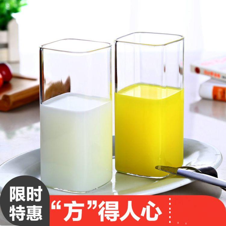 耐热玻璃茶具 厂家批发方形直筒玻璃杯 花茶杯 玻璃饮料水杯子