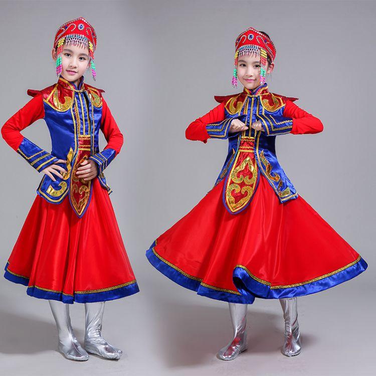 儿童蒙古族表演服民族舞蹈演出服少儿舞台表演服装女童内蒙舞蹈服