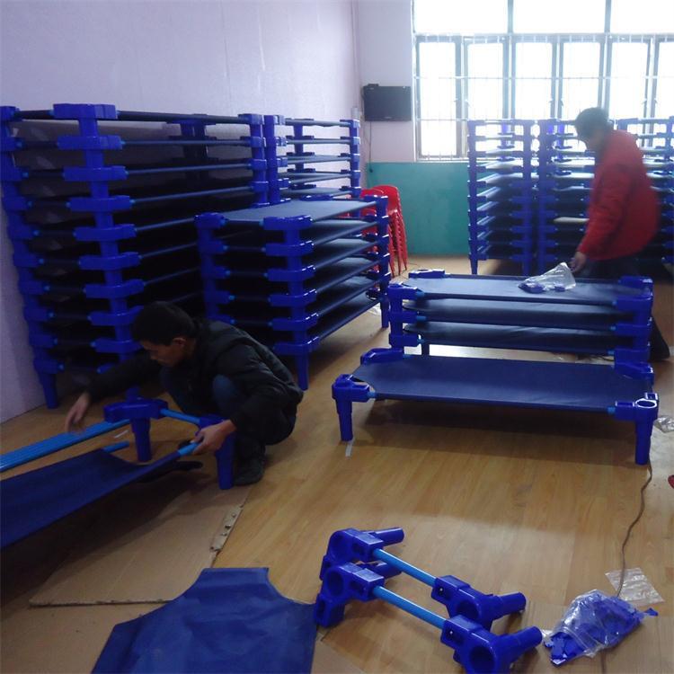 幼儿园床布床蓝布床儿童床 幼儿园儿童睡觉床 幼儿园帆布床可定制