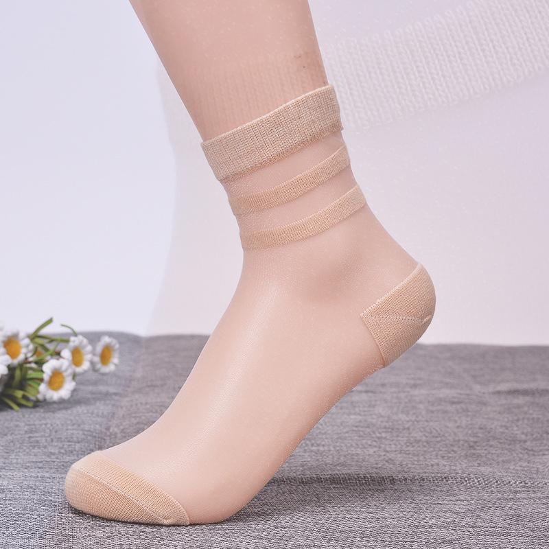 厂家批发夏季薄款丝袜 水晶透明短袜女蕾丝船袜透明防滑日系