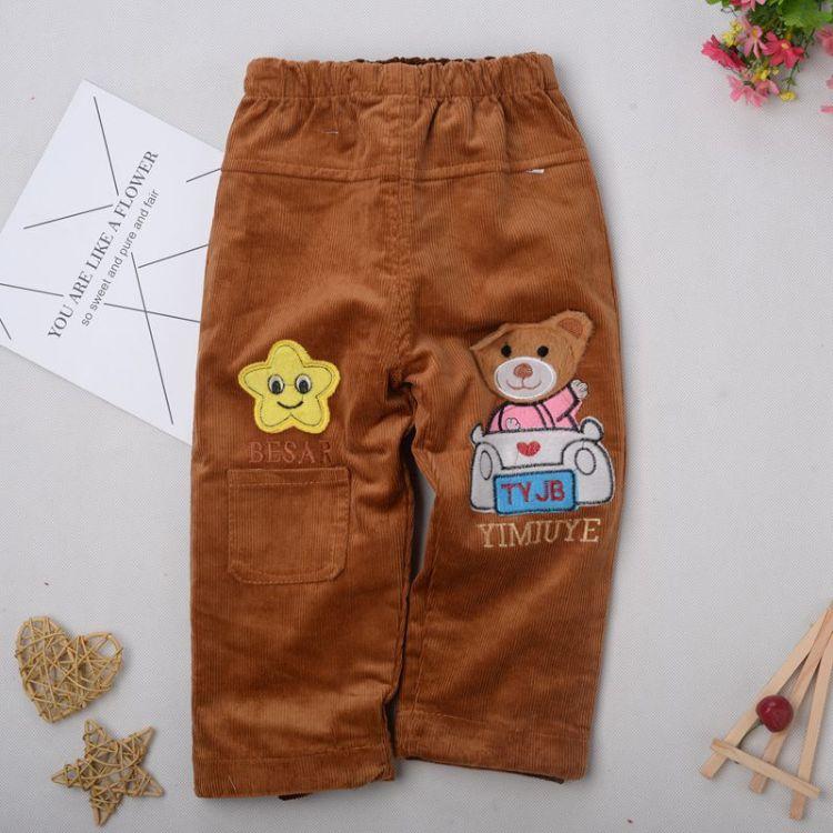 冬季新款宝宝罩棉裤条绒罩裤0-4岁男女童卡通花型单层灯芯绒长裤