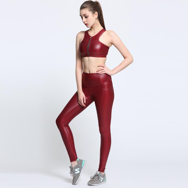 夏季新款瑜伽服 速干瑜伽套装女 运动文胸紧身瑜伽酒红色亚光布