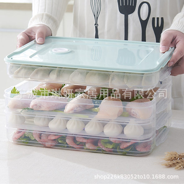 家用饺子盒冻饺子冰箱保鲜收纳盒鸡蛋盒水饺多层速冻馄饨盒大号