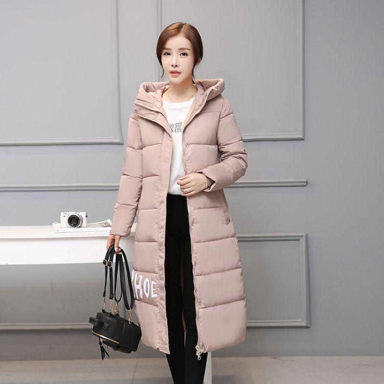新款韩版长款过膝棉衣女加厚时尚胖mm大码加厚修身学生棉服女潮