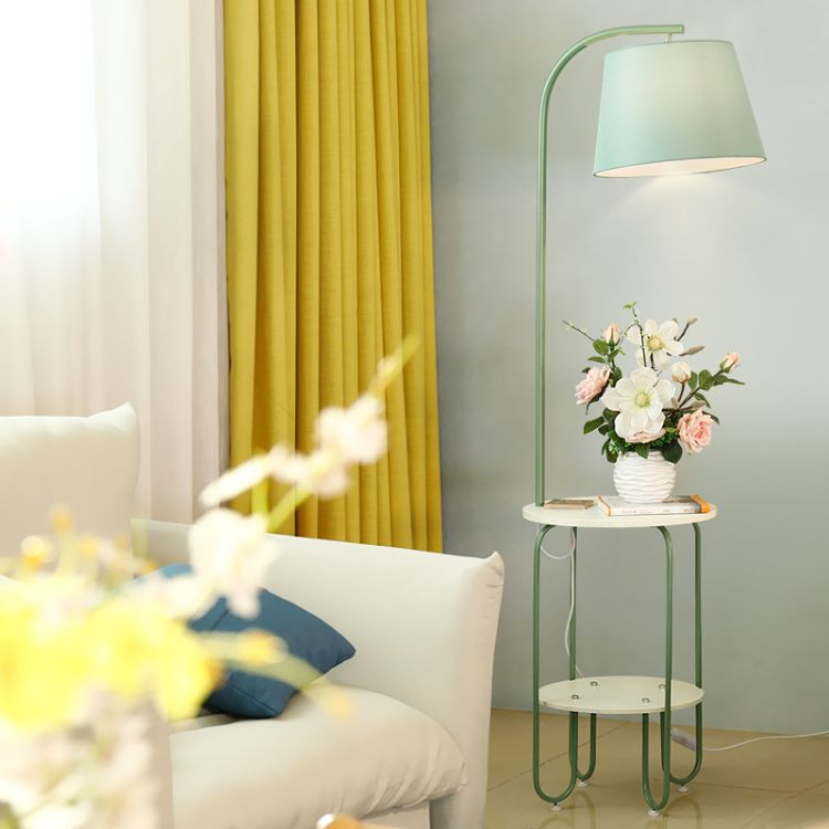 北欧马卡龙客厅茶几落地灯床头温馨阅读置物灯现代简约LED落地灯