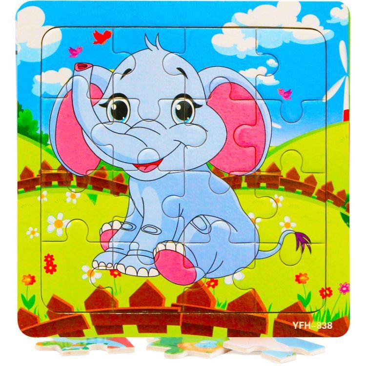 厂家直销 新款16片木制玩具拼图 幼儿早教益智玩具卡通木质拼图
